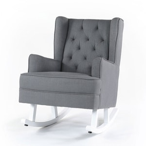 Isla Wingback Rocking Chair Wolf Grey with White Legs