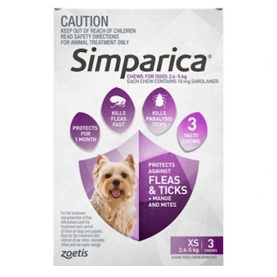 SIMPARICA 2.6-5kg Extra Small Dog Tick Flea Chewable Treatment 3 Pack