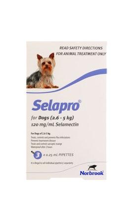 SELAPRO Spot On Treatment 2.6-5kg Dog 3 Pack