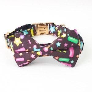 DoggyTopia Birthday Sprinkles Collar & Double Bow Tie