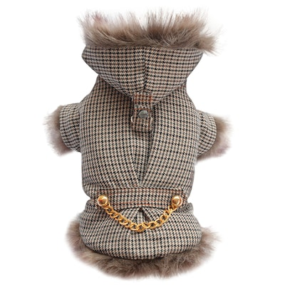 DoggyDolly SMALL DOG - Lux Taupe Houndstooth Doggy Coat