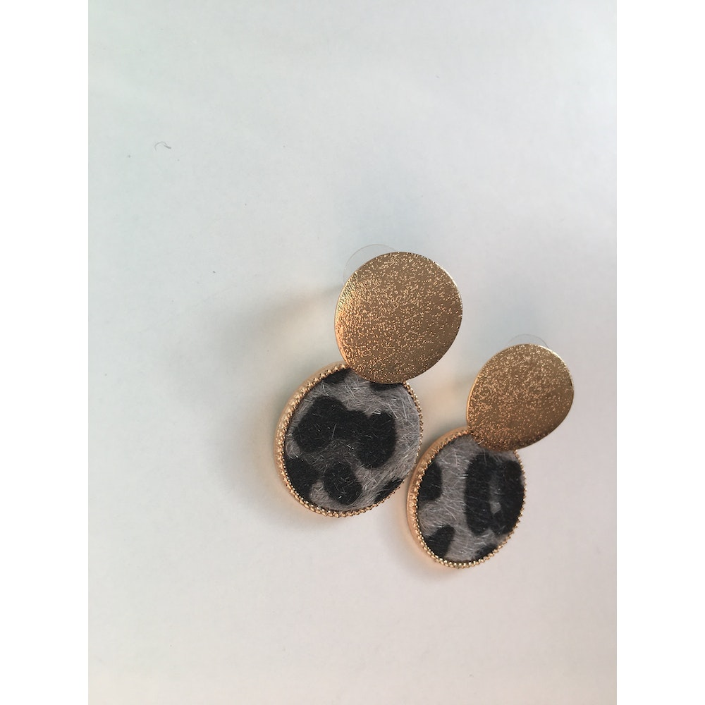 One of a Kind Club Grey Animal Print Strong Round Earrings