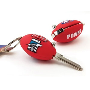 Creative Keys AFL Footy Flip Key Blank with Keyring LW4 – Port Adelaide Power