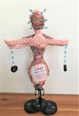 "Bambole Designs LIBRA- ZODIAC Art Doll, One Of A Kind, 20 cm (8"") Tall, Cloth Dolls, Astology, Cancer star sign, Home decor, gift idea 2019"