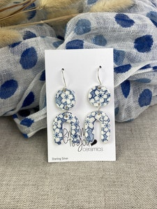 Funky Blue and White Floral Double Drop Earrings on Sterling Silver Wires