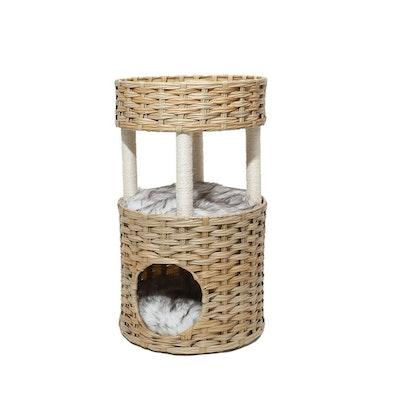 House of Pets Delight 2 Tier Rattan Cat Sleeping Nest