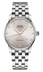 Mido Baroncelli Diamonds - Stainless Steel - Stainless Steel Strap - 38mm