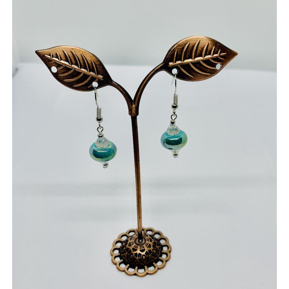 Fayre Maiden Turquoise Porcelain Rondelle Earrings