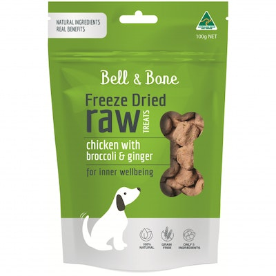 BELL & BONE Chicken With Broccoli & Ginger Freeze Dried Dog Treats 100G