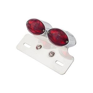 Cat Eye Twin Chrome Bulb Tail Light - Red Lens