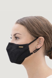 1 People Linen Natural Dyed Face Mask in Charcoal Black