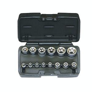 """Torx Socket Set 14pc 1/4"""", 3/8"""", 1/2""""dr Sizes E4 - E24 Chrome Vandium Carry Case"""