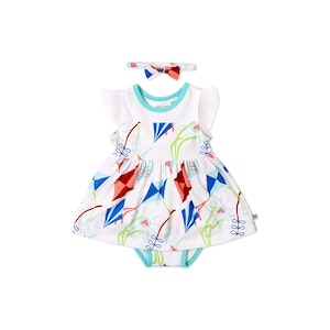 OETEO Australia Road Trip Flutter Sleeve EASYEO Romper Dress ( White / Kite )