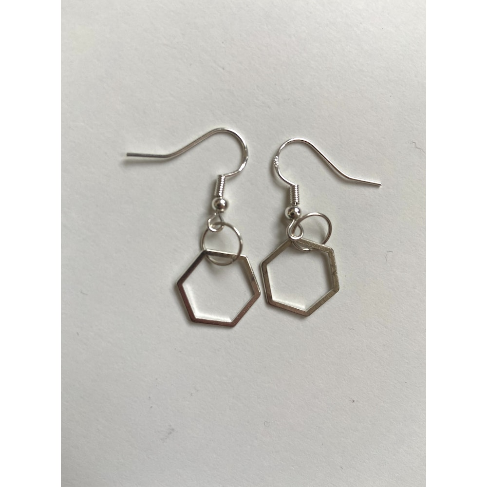 One of a Kind Club Silver Hexagon Earrings