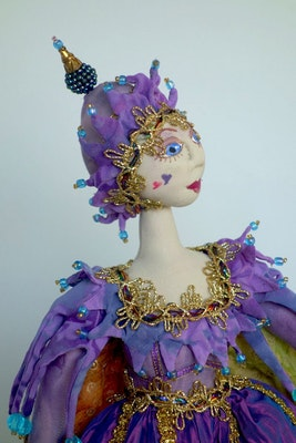 Bambole Designs ORIANA, Jester, ART DOLL, Fiber Art, Gift Idea, loth Doll, michelledolls, Home Decor, sculpture,