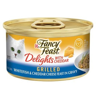 Fancy Feast Delights w/ Cheddar Wet Cat Food Whitefish & Cheddar Cheese 24 x 85g