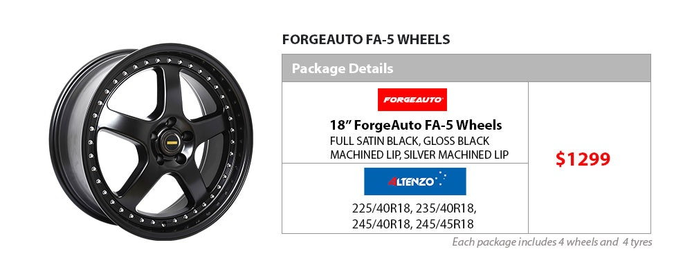 "18"" Forge Auto & Altenzo wheel & tyre package $1299"