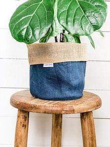 Pot Plant Cover - Ocean Linen and Hessian Reversible