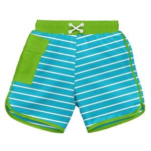 i play. Classic Pocket Board Shorts w/Built-in Reusable Absorbent Swim Diaper-Aqua Stripe