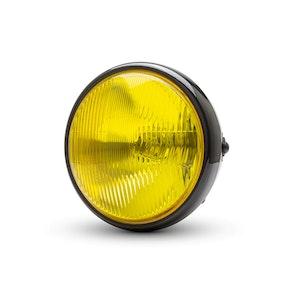 "7.7"" Classic Metal Headlight Yellow Lens - Gloss Black"
