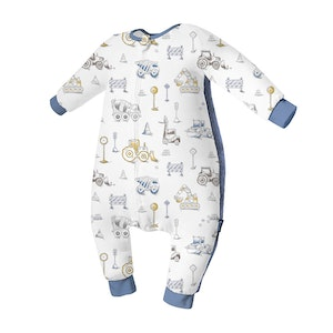 Domiamia  Silky Bamboo Long Sleeve Sleepsuit with Stretchy Side Panel- Engineering Team (1.0 Tog)