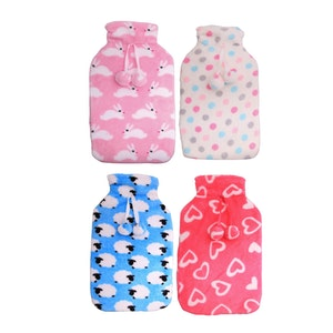Boutique Medical 2L HOT WATER BOTTLE with Coral Fleece Cover Winter Warm Natural Rubber Bag - ACCC Approved
