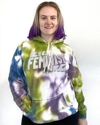 Maybe Mazie Feminist NRG Tie-dye Hoodie - Blue, Purple & Green - Size L
