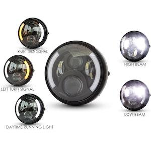 "7.5"" Gloss Black Metal LED Headlight with Indicators"