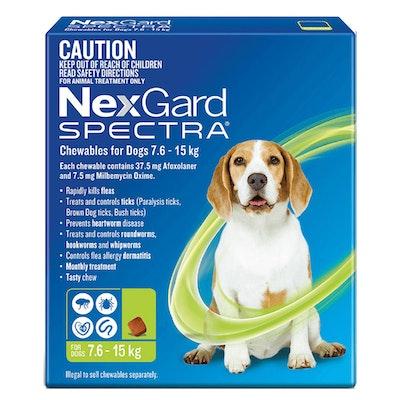 NexGard Spectra Dogs Chewables Tick & Flea Treatment 7.6-15kg - 2 Sizes