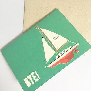 Farewell Card | Goodbye Card | Bon Voyage Card | Card for her | Card for friend | Boat Card | Card for him | Card for colleague | Yacht card