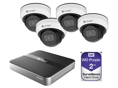 Milesight 4K 4-Channel Mini NVR CCTV Kit including 4 x 5MP weather resistant mini domes and a 2TB HDD (Screen NOT included)