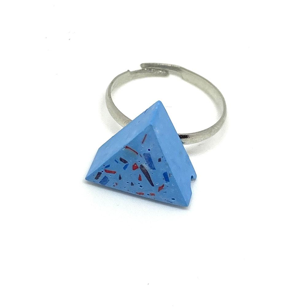 One of a Kind Club Sky Blue Vivid Jesomite Triangle Ring