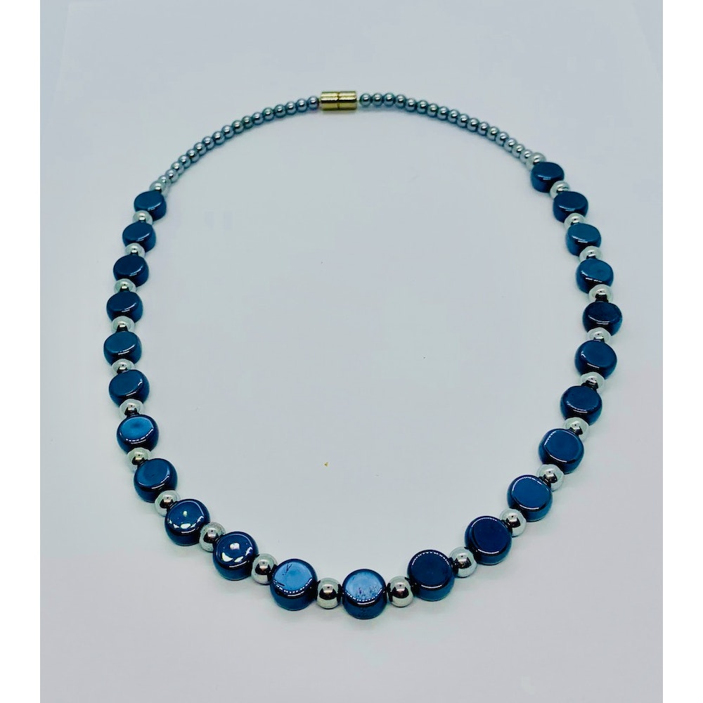 Fayre Maiden Blue/black Pearlised Flat Round Glass Necklace