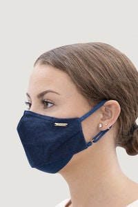 1 People Linen Natural Dyed Face Mask in Indigo Blue