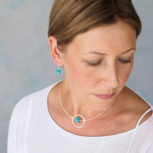 Silver Necklace – Circle Design with Turquoise Round Ceramic Bead