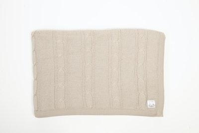 100% PURE Australian Merino Leroy Mac Designs Latte Cable Knit Blanket/Throw