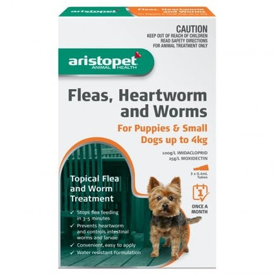 Aristopet Animal Health Fleas, Heartworm And Worms For Puppies and Small Dogs Up to 4Kg (3 packs)