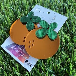 Orange Mirror Hoop Dangle Earrings - Fruity and Fun!