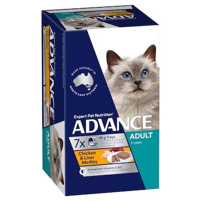 Advance Adult Chicken & Liver Medley Wet Cat Food 7x85G