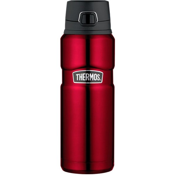 Thermos Premium 710ml King Drink Bottle - ThermoMax Stainless Vacuum Insulated - Red The Thermos Stainless 710ml King Vacuum Insulated drink bottle is the perfect choice for those wanting liquids to stay heated or chilled for maximum amount of time. The Stainless King is premium quality made using Thermos ThermoMax technology,an unbreakable stainless steel construction with a double wall design. Theair gap between the layers insulates the contents of the bottle to keep hot contents hot for up to 18 hours & cold for up to 24 hours. The exterior remains cool when the bottle is full of hot liquids, and sweat-proof with colder drinks.The twist-and-pour stopper allows you to pour without removing the top.Safe & leak proof. The?large 710ml capacity ideal for older kids and adults  * * Be aware of FAKE Thermos products being soldon ebay.There aremany sellers bothin Australia & overseassellinginferior sub standard replicas.We at Urban Outback Gear are authorised agentsverifiable by Thermos Australia.  About Thermos Founded in 1904, Thermos L.L.C. is the leading manufacturer worldwide of insulated food and beverage containers, children?s lunch kits and other innovative consumer products.