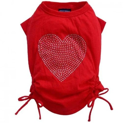DoggyDolly SMALL DOG - Red Love Heart Doggy T Shirt