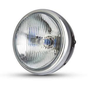 "7.7"" Classic Metal Headlight - Gloss Black / Chrome"