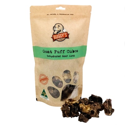 Bugsy Pet Supplies HEALTHY SNACKS | Australian Goat Puffs (Dehydrated Lung)