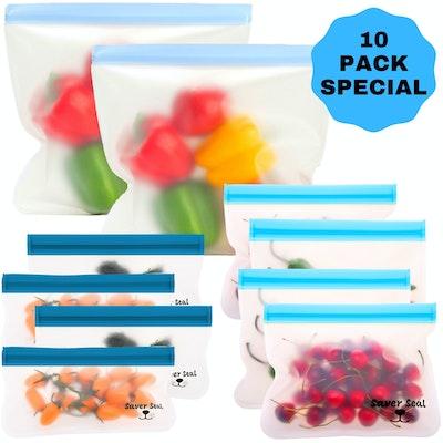 Twiggy Willow Saver Seal Reusable Ziplock Storage Bags (8 Pack + 2 Bonus Snack Bags = 10 PACK)