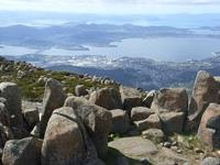 Mt Wellington looks down on the Derwent, Pittwater and  beaches