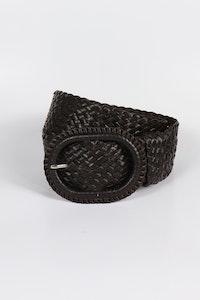 Hitchley & Harrow Leather Plaited Belt - Oiled Havana