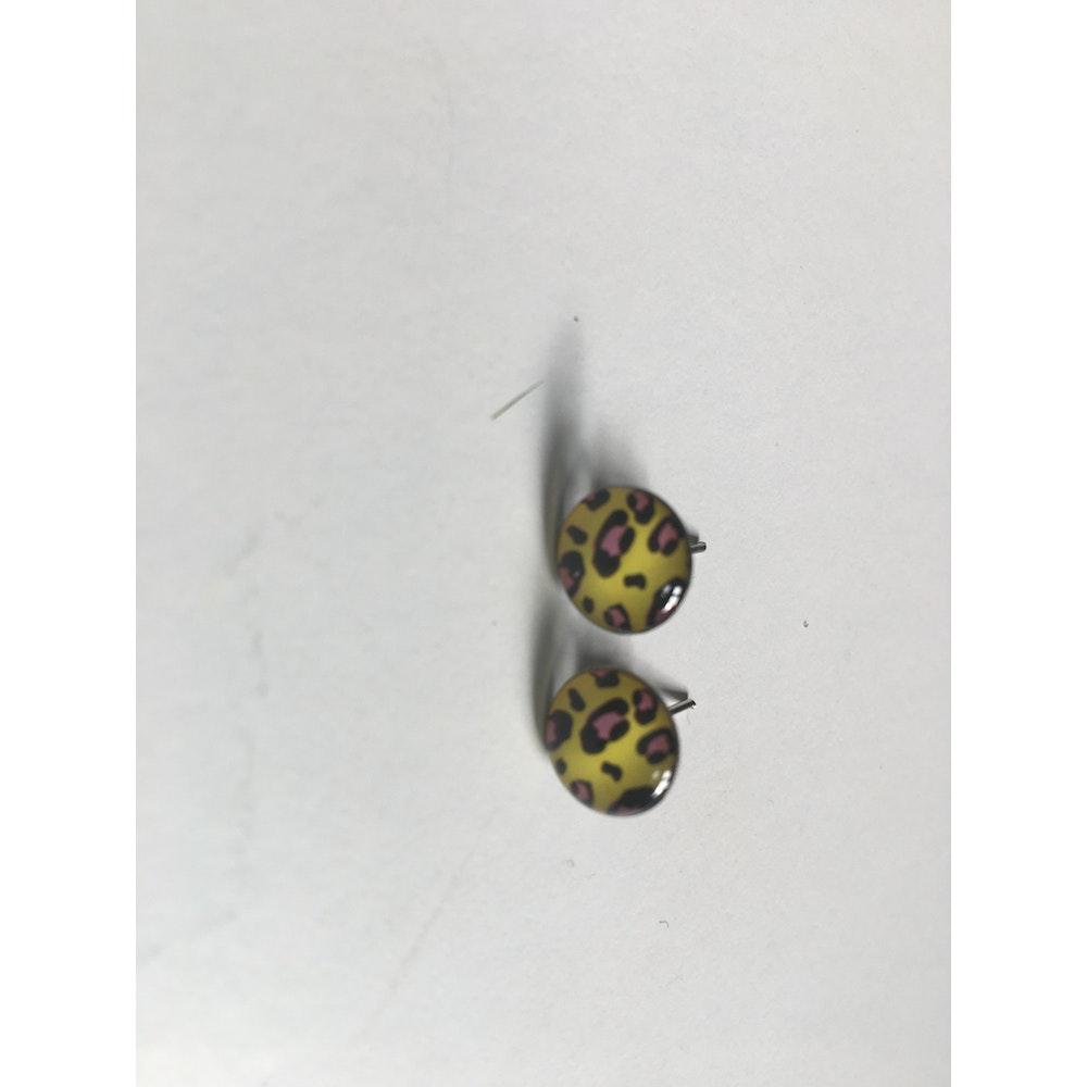 One of a Kind Club Yellow Animal Print Studs