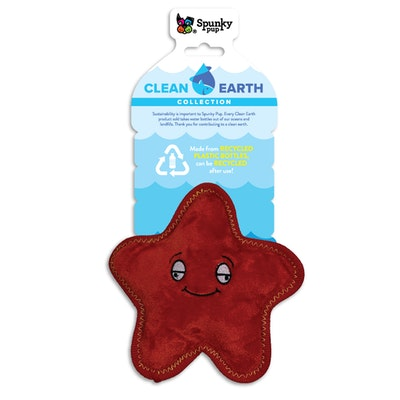 Spunky Pup Clean Earth Plush StarFish Dog Squeaker Toy - 2 Sizes