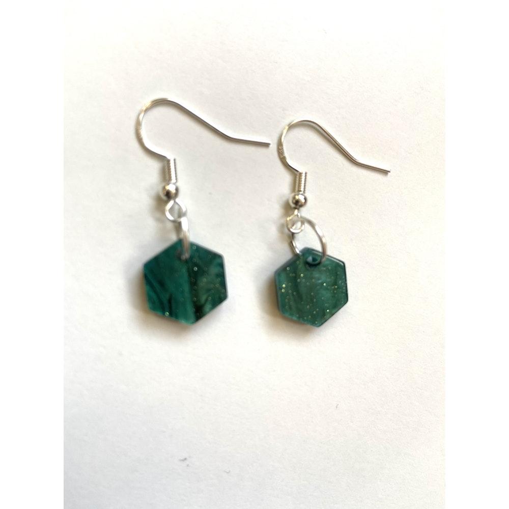 One of a Kind Club Green Hex Charm Earrings
