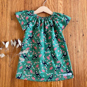 dress - forest green magpies / cotton peasant-style dress / eucalyptus flowers / eco friendly / Australiana / girl toddler / 1-5 years